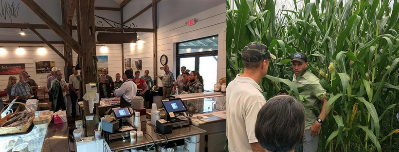 Photo of people in a store, and in field