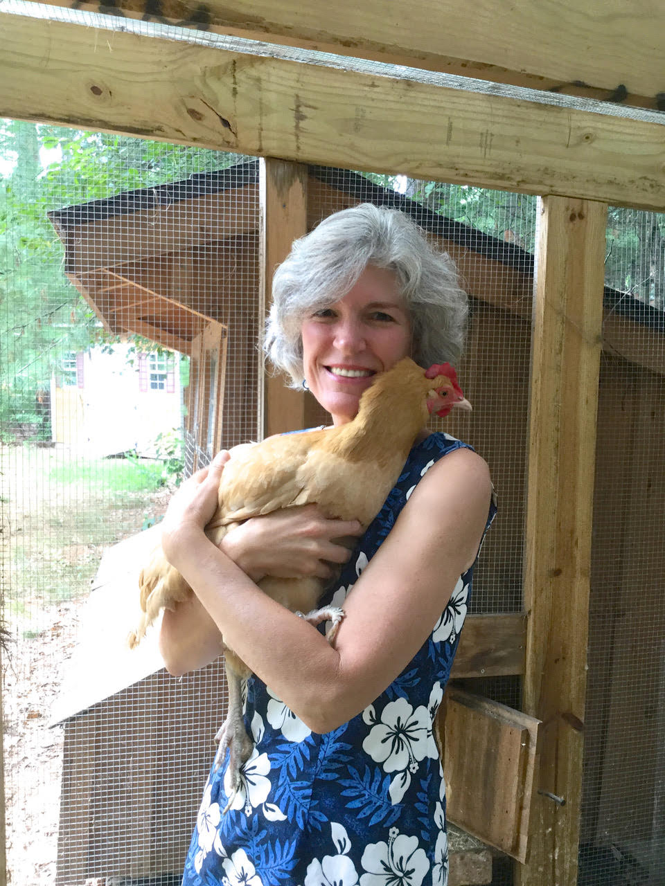 Kathy Lynch holding chicken Molly