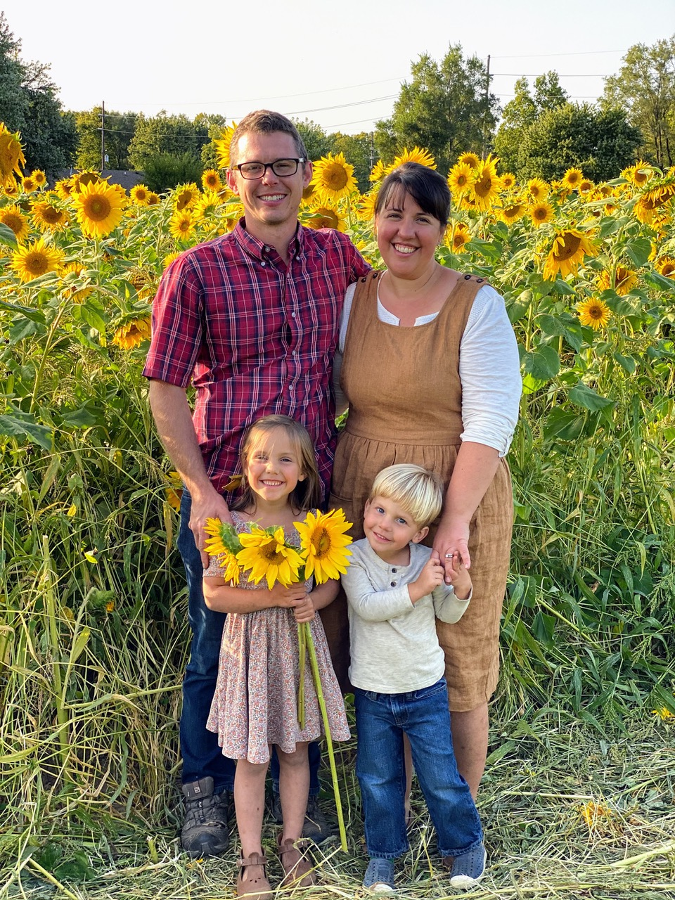 Family with Sunflowers