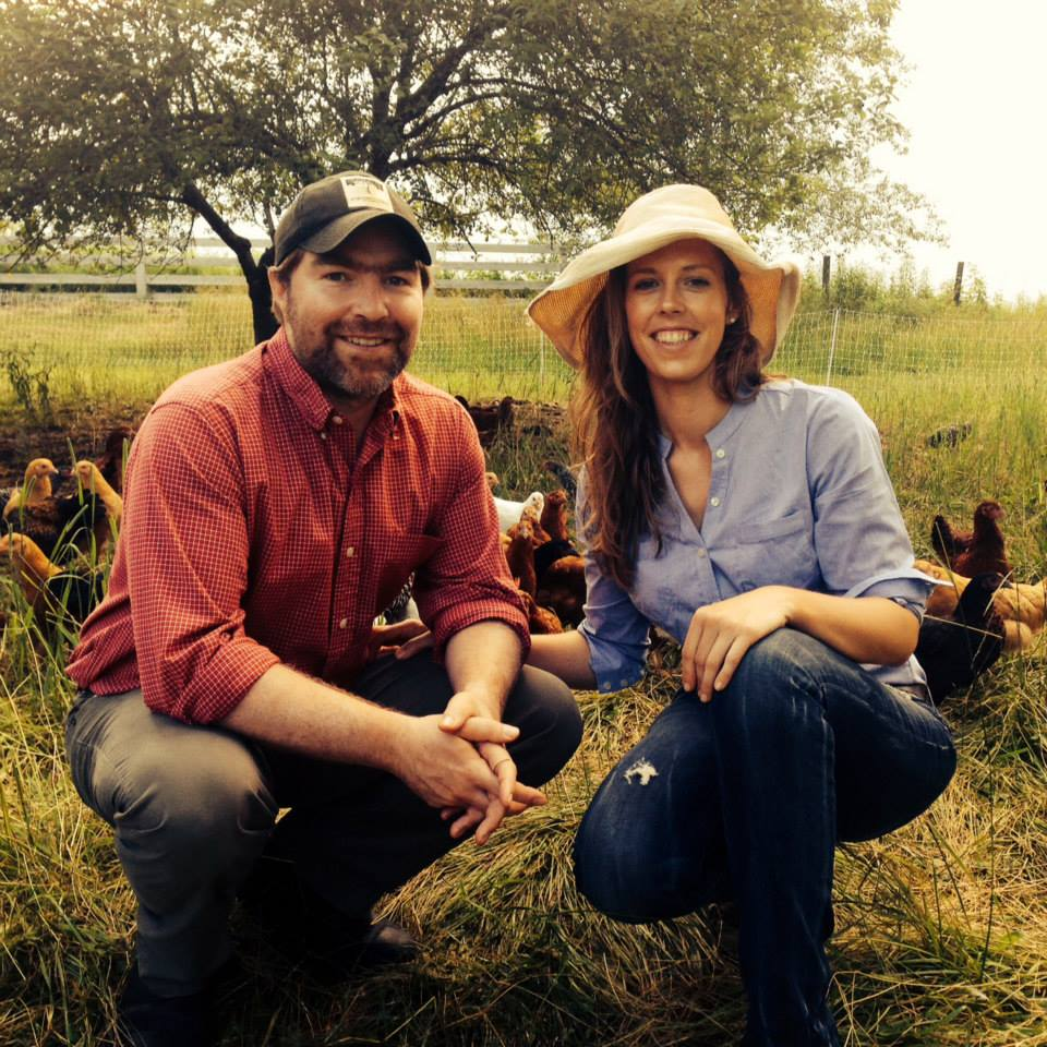 Caitlin & Dan with chickens