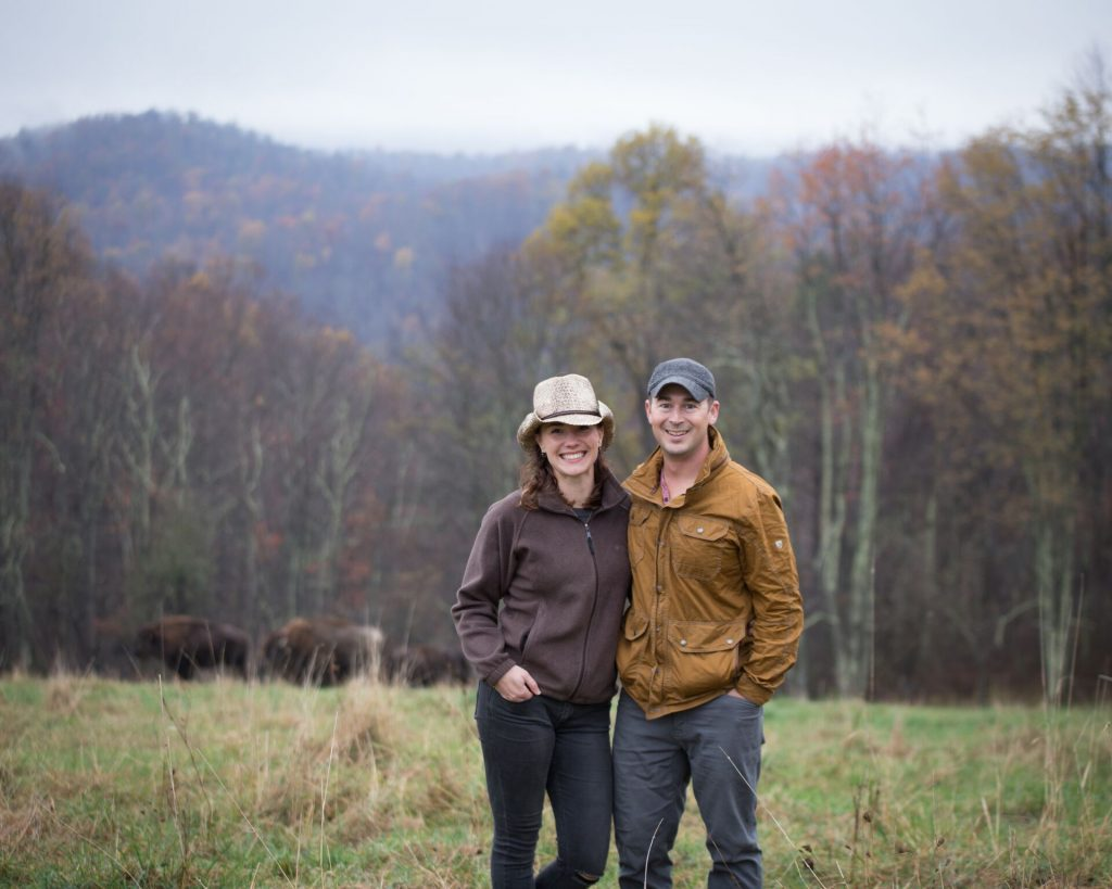 Riffle Farms Owners with Bison